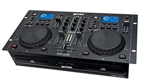 Dj Media Player - Gemini CDM Series CDM-4000 Professional Audio CD/MP3/USB DJ Media Player Console with Dual Jog Wheel, LCD Screen, Anti-Shock