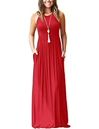 a078bc6320 Women s Sleeveless Racerback and Long Sleeve Loose Plain Maxi Dresses  Casual Long Dresses with Pockets