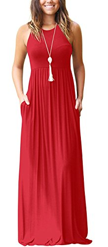 GRECERELLE Women's Casual Long Maxi Dresses with Sleeveless Red XL