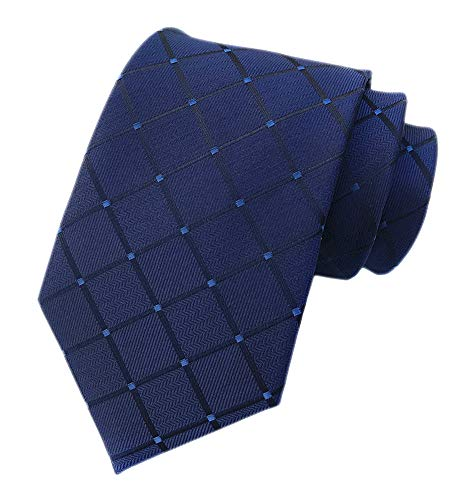 - Men's Navy Blue Checks Ties Elegant Banquet Formal Prom Ball Neckties for Youth