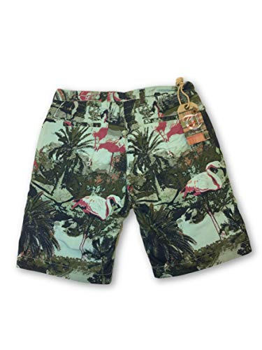 Shorts Green Flamingo Vintage W32 Prin Size Tailor In Reversible Cotton qwIPFFBE