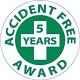 NMC HH32 2'' x 2'' PS Vinyl Hard Hat Emblem w/Legend: ''Accident Free 5 Years Award'', 12 Packs of 25 pcs