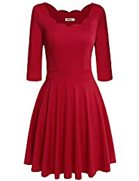 Meaneor Womens Low Cut Casual Swing Dress Fit and Flare Party Cocktail Dress