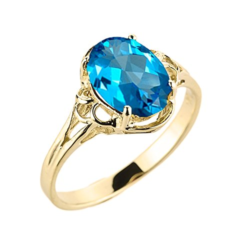 (Modern Contemporary Rings Elegant 10k Yellow Gold December Birthstone Genuine Blue Topaz Gemstone Solitaire Ring (Size 9))
