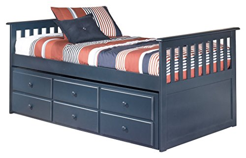 Ashley Furniture Signature Design - Leo Kids Trundle Bedset with Roll Slats & Storage - Childrens Twin Size Bed - Navy Blue