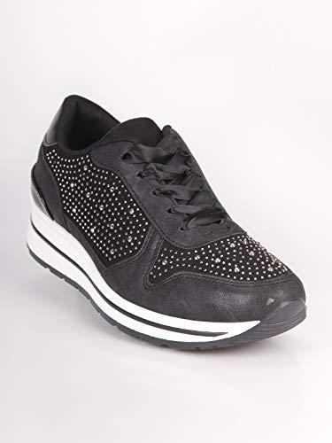 Nero Ecopelle Donna Con Casual Sneakers Strass AwFqavxO