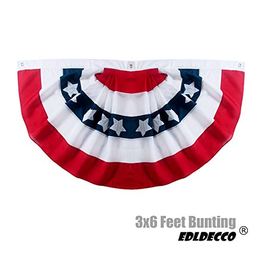 - EDLDECCO American Flag Bunting 3x6 Feet USA Patriotic Pleated Fan Flag Stars and Stripes Banner for 4th of July Memorial Day Veterans Day Porch Garden