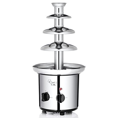 Chef's Star Electric 3-Tier Stainless Steel Chocolate Fountain, Silver]()