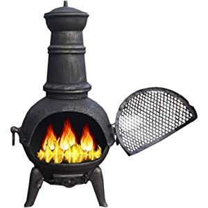 Black and Bronze Large Cast Iron Chiminea