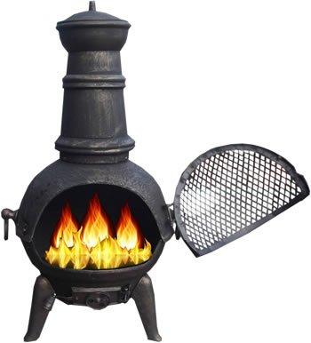 Black / bronze 85cm Cast Iron/Steel Chimnea Patio Heater/Cooking BBQ Grill Fire Chiminea