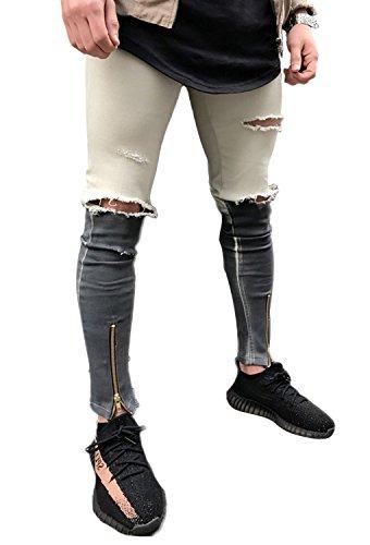 Fit Uomo Moda Cerniera Pants Jeans Skinny Cuciture Strappati Distrutto Pantaloni Grigio Con Cachi Alla Denim Minetom wCqAIfw