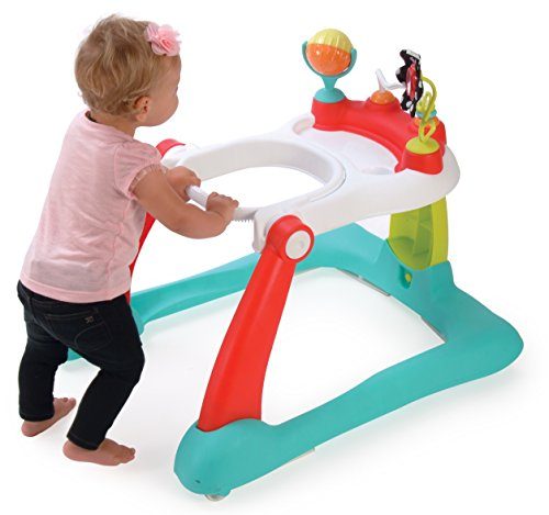 Kolcraft Tiny Steps 2-in-1 Activity Toddler and Baby Walker - Seated or Walk-Behind Position, Easy to Fold, Adjustable Seat Height, Fun Toys and Activities for Baby girl or boy, Jubliee
