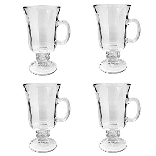 Set of 4 Thick Wall Glass Footed Irish Coffee Glass Mugs 8.25 oz. Cappuccinos, Mulled Ciders, Hot Chocolates, Ice cream and -