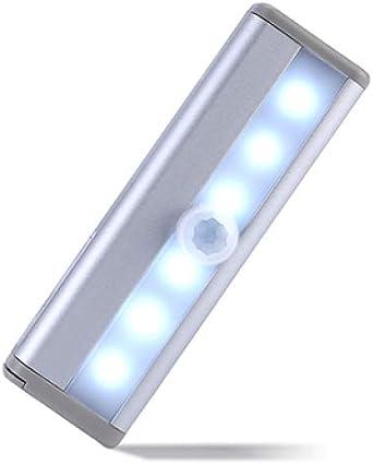BFMBCHDJ Luz nocturna LED Sensor de movimiento Armario Luz del gabinete Luz nocturna Cocina Escalera Iluminación Iluminación Diodo emisor Energía de la batería A4 Blanco frío 6 Led: Amazon.es: Iluminación