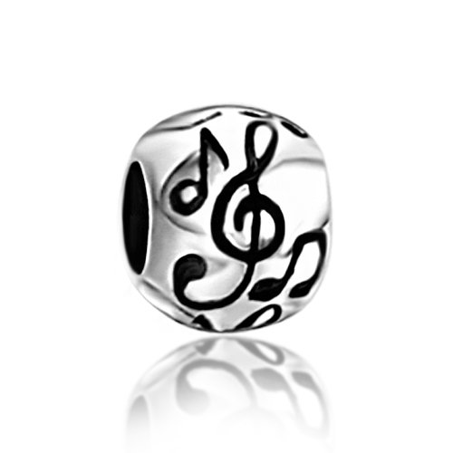 Everbling I Love Music Note Enamel Heart 925 Sterling Silver Bead For European Charm Bracelet (Round Musical Notes) - Sterling Silver Round Music