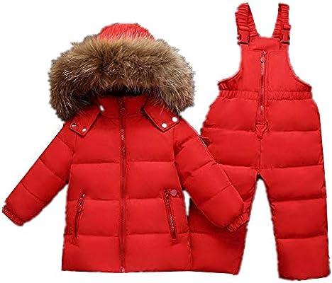 6228d0440 Chaqueta de invierno para niños Bebé niños niñas dos piezas Puffer abajo  chaqueta invierno cálido traje para la nieve con capucha borde de piel con  esquí de ...