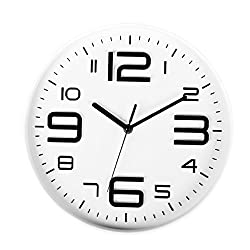SonYo Indoor Big 3D Number Silent& Non-ticking Wall Clock Quartz Sweep Movement Modern Wall Clocks Battery Operated 10 Inch (White)