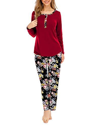 CIZITZZ Women Tie Dye Print Pajama Set Loungewear Top and Pants Jogger Sleepwear,Red,L