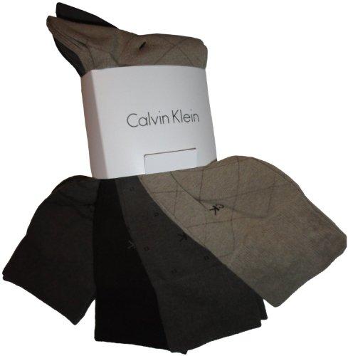 Calvin Klein Men's Classic Pattern Dress Socks 4-Pack, Taupe/Mushroom/Chocolate, Large