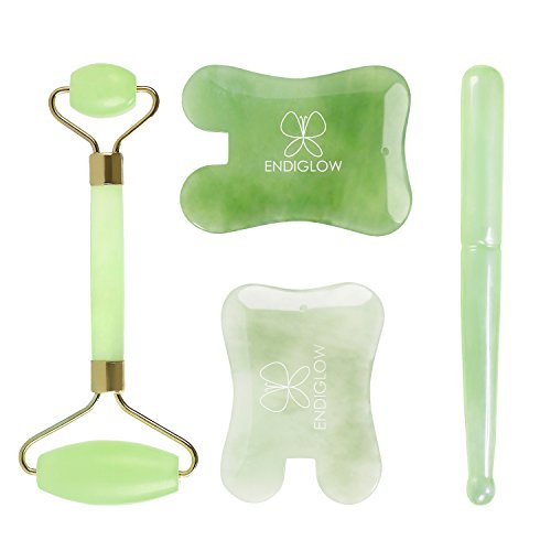 ENDIGLOW Jade Facial Gua Sha Set, Hand-Made Gua Sha Massage Tool, GREAT (Green Jade Like Stone)
