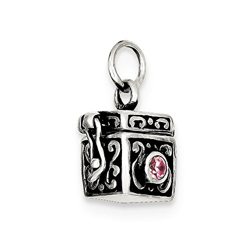 Roy Rose Jewelry Sterling Silver Antiqued Prayer Box Charm Antiqued Prayer Box Charm