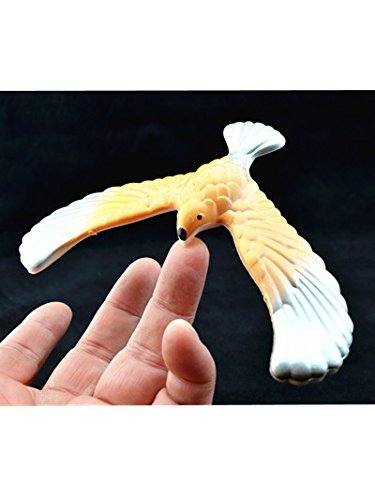 C&H Solutions Silver Wing Yellow Body Cute Balancing Bird With Clear Triangle Stand By Gravity Toy