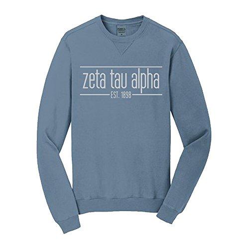 Zeta Tau Alpha ZTA Pigment Dyed Emma Crew Sweatshirt Small Mist
