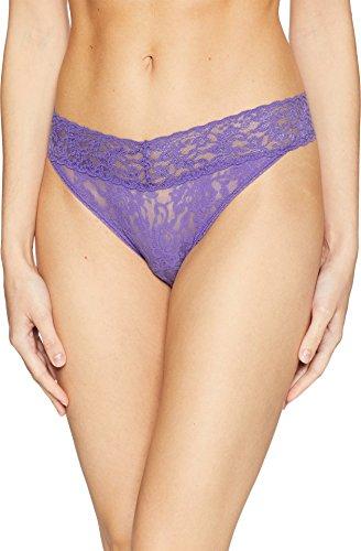 Hanky Panky Signature Lace Original Rise Thong, One Size, Purple (Signature Womens Thongs)
