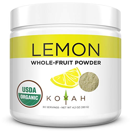 KOYAH - Organic Freeze-dried Lemon Powder (1 Scoop = 1 Lemon Wedge): 80 Servings, USA Grown, Whole-Fruit Powder, Raw
