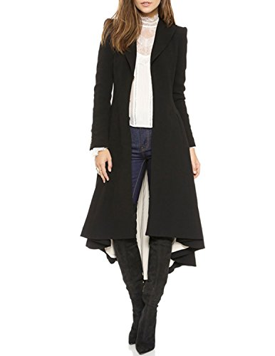 missomo Women Asymmetrical High Low V Neck Ruffle Button Long Coat Black