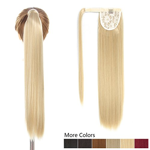 26 Inch Long Wrap Around Ponytail Hair Extension Blond 1 Piece Hairpiece Synthetic Binding Pony Tail Clip in Hair Extensions for Girl Lady Woman (26Inch Wrap Around Ponytail Straight 27-613#) -