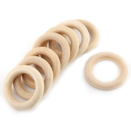 Ialwiyo 50自然の木製のリング木製のリングサークル未完成の木製のDIYプロジェクトのための天然の木のビーズを丸めるペンダントのコネクタークラフトジュエリー製作赤ちゃんのおもちゃ2.2`ディア