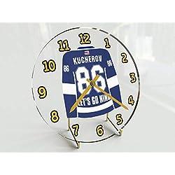 USA Hockey Legends Table Clocks - 7 X 7 X 2 N H L Jersey Themed Limited Edition Legend Desktop Clocks ! (N.Kucherov 86 TBL Edition)