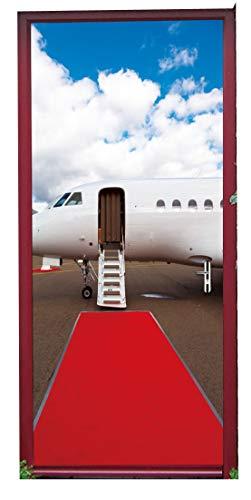 Izielad 3D Aircraft Art Gallery Door Sticker Wall Murals Decals for Home Bedroom Décor 15x78.7 Inch x2Pcs ()