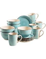 MÄSER 931496 Bel Tempo II serwis śniadaniowy dla 6 osób w stylu vintage, ręcznie malowana ceramika, 18-częściowy zestaw naczyń, turkusowy, kamionka
