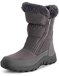 Womens Memory Foam Twin Zip Opening Pull On Nylon Waterproof Thick Faux Fur Lined Winter Rain Snow Boots