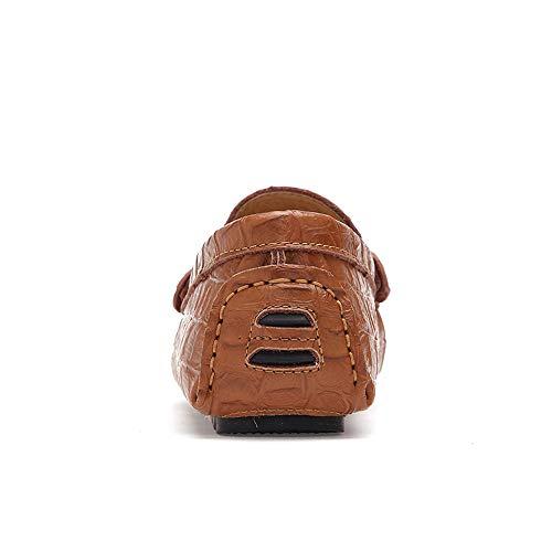 in delle Color 46 Ofgcfbvxd di con Morbida EU Casual Bianca gomma coccodrillo la la Scarpe che Marrone guida Flat suola pelle scarpe suola On Flat Slip Dimensione Men's qOBB4aP