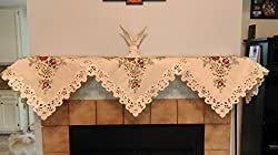 Fireplace Mantel Scarf Embroidered with Burgundy Red Roses Handmade, Size 84 inches wide by Doily Boutique