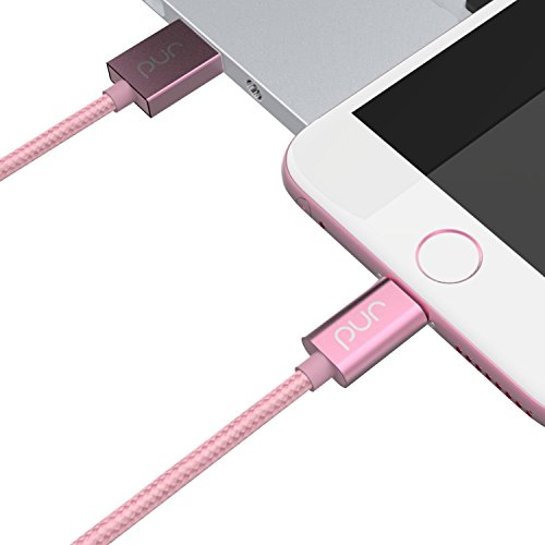 (Pur [Apple MFi Certified] 3.3ft/1.0m Nylon Braided Lightning Cable for iPhone 5/5s/5c/6/6s Plus/SE, iPad Mini/Air/Pro iPod Touch (Rose Gold))
