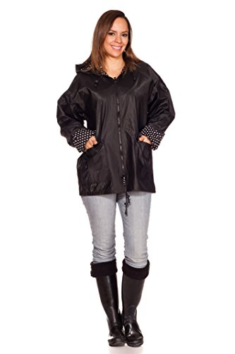 RAIN SLICKS Women's Classic Look Raincoat Hooded Plaid Lined Waterproof Jacket Large Black