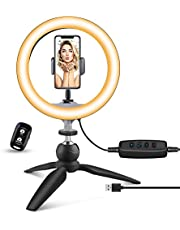 """UBeesize 10"""" LED Ring Light with Tripod Stand & Phone Holder, Dimmable Desk Makeup Ring Light, Perfect for Live Streaming, YouTube Videos, and Photography, 3 Light Modes and 11 Brightness Levels"""
