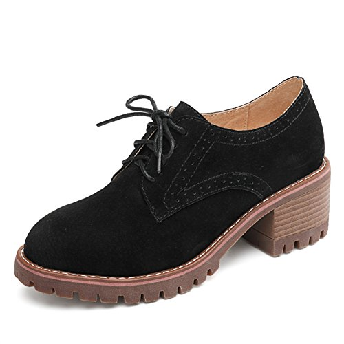 Spring Chunky Heels Thin Shoes,British Academy Wind Womens Shoes,Leather Casual Shoes,Thick Soled Shoes A