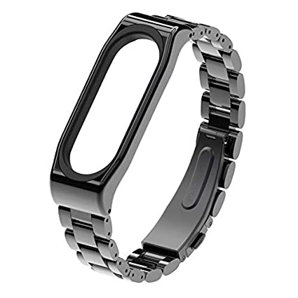 Replace Wrist Strap Metal Stainless Steel For Xiaomi Mi Band 3 Wristband Smart Watch Band Mi Band Wrist Band Miband3 Accessories (Black)