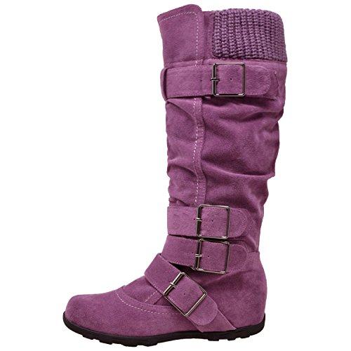 Generation Y Frauen Kniehohe Mid Kalb Stiefel mit Rüschen Wildleder Gestrickte Kalbsschnallen Gummisohle GY-WB-233 Lila