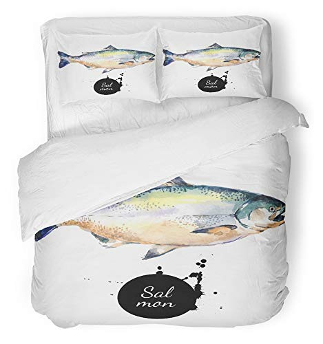 Emvency 3 Piece Duvet Cover Set Breathable Brushed Microfiber Fabric Food Watercolor Salmon Fish Fresh Seafood on White Sketch Drawn Restaurant Hand Bedding Set with 2 Pillow Covers Twin Size by Emvency