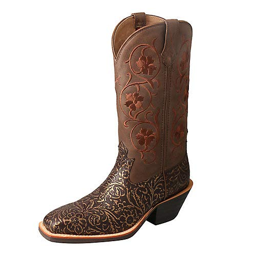 Twisted X Women's Ruff Stock Western Boot Wide Square Toe Brown 10 M