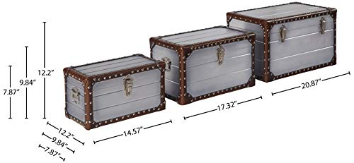 Amazon Brand – Stone & Beam Mid-Century Modern Storage Trunk with Leather Nailhead Trim - Set of 3, Silver