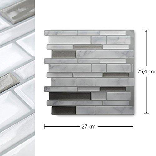 Yiyasu White Grey Marble Mosaic Peel And Stick Wall Tile