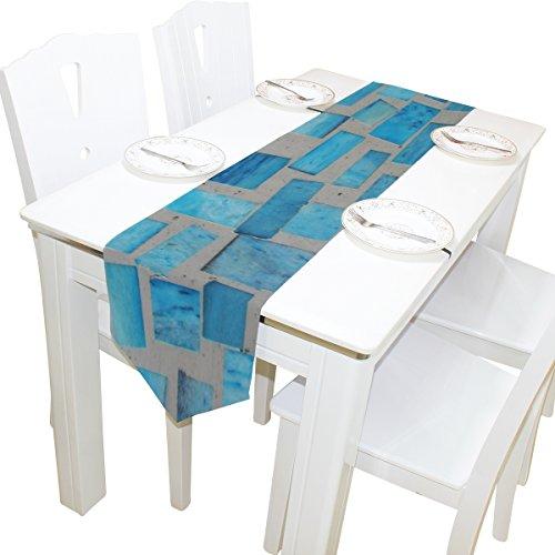 ALAZA camino de mesa decoración del hogar, mármol azul turquesa mantel de mesa camino café alfombrilla para decoración de...