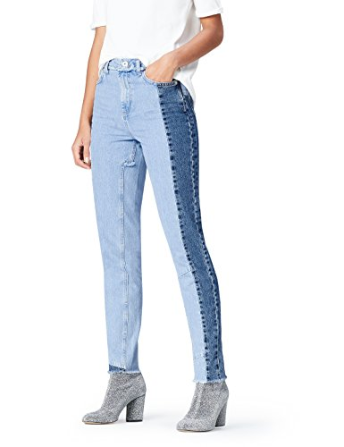 FIND Women's Straight leg High Waist Jeans Blue (Mid Blue)